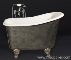 clawfoot enamel cast iron bathtub