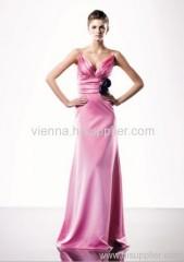 Elegant Satin V-neck Floor-length Column Evening dress SOV619