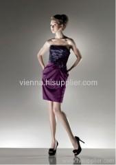 Cheaper Satin Square neckline above knee-length evening dress