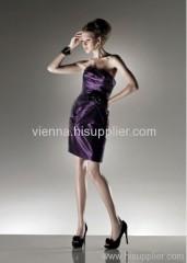 Fashion Square neckline Satin above knee-length evening dress