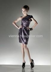Elegant Taffeta one-shoulder knee-length evening dress