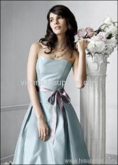 Classic Satin Sweetheart tea-length Bridemaids dress