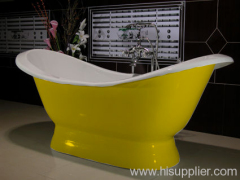 pedestal slipper cast iron enamel bathtub