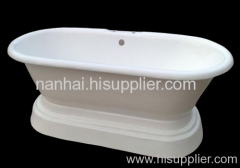 enameled freestanding pedestal bathtub