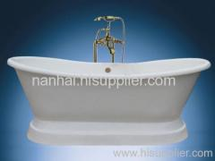 Cast iron slipper bathtub with pedestal