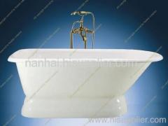 roll top cast iron bath with pedestal