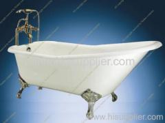 Single slipper cast iron bathtub