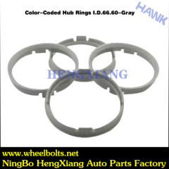 Silivery wheel hub rings