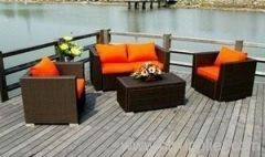 Patio rattan sofa group from hartsun
