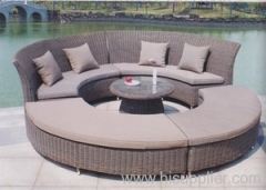 Garden round wicker sofa set