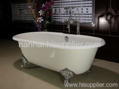 doubl ended enameled cast iron bathtub