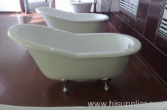 slipper clawfoot bathtub with brass feet