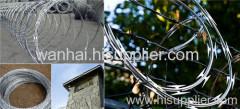 straight line razor barbed wire fence