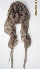 chiffon print scarf with lace