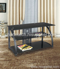 Black Glass and Iron TV Stands