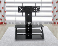 3 Black Tempered Glass and Iron LCD TV Stand