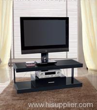 Black Glass and Hexagonal Aluminum Tube LCD DVD TV Stand