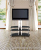 Big Black Tempered Glass Furniture LCD TV Stand