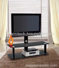 Fashion Design Black Tempered Glass Plasma TV Stands