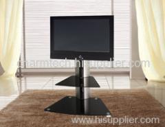 2 Black Glass TV Stand