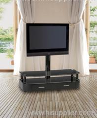 2 Black MDF Drawer TV Stand