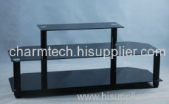 Black Tempered Glass Black Aluminum Tube Plasma TV Stand