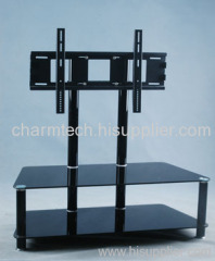 Black Round Aluminum Tube TV Stand