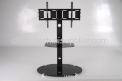 Black Round Glass TV Stand