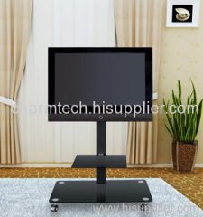 Black Tempered Glass TV Stand with Wheel