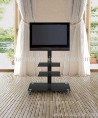 Black Glass Black Iron Tube Plasma TV Stand