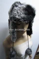 fake fur trapper hat with pom-pom