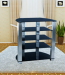 Black Glass and Silver Aluminum Tube LCD TV Stand