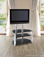 3 Black Tempered Glass Silver Tube Plasma TV Stand