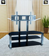 Black Glass Plasma LCD TV Stand