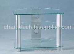 3 Clear Glass TV Stand