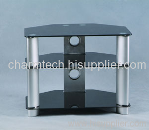 Black Glass Silver Oval Tube LCD TV Stand