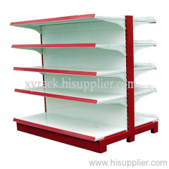 double-sided supermarket shelves