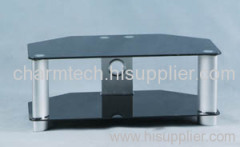 2 Black Tempered Glass TV Stand
