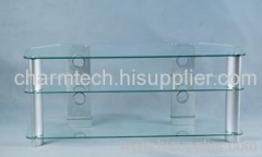 3 Clear Glass LCD DVD Stand