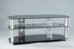 Black Tempered Glass Corner LCD TV Stands