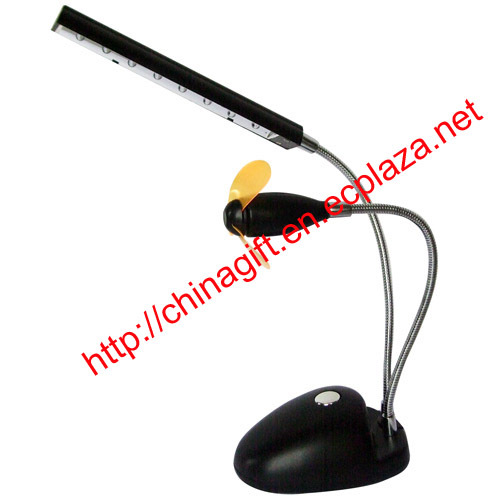 USB Flexible 8 LED Desktop Lamp Light with Fan