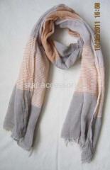 cotton stripe woven scarf