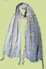cottton plain scarf with tassels