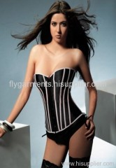Pink-Black stripe stretch satin corset