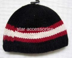 wool stripe knitted hat
