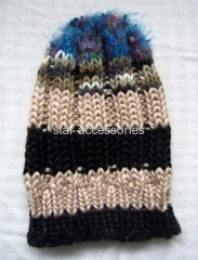 acrylic stripe knitted hat with boucle