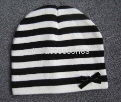 acrylic stripe knitted hat with bowknote