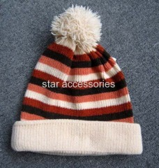 chenill stripe knitted hat