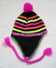 acrylic stripe knitted earflap hat