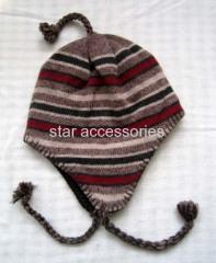 wool stripe knitted earflap hat